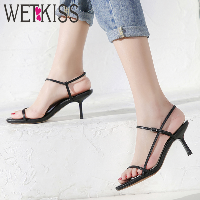WETKISS High Heels Sandals Women Open Toe Cow Leather Strap Sandals Belt Female White Gladiator Shoes