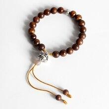Eastsian Wholesale Tibetan Buddhism Mala Prayer Natural Wood Beads Stretch Bracelets with Langhing Buddha Charm Handmade Jewelry