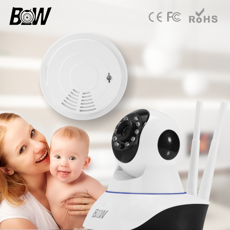 Surveillance Security CCTV Onvif Indoor Wifi Mini IP Camera + Smoke Detector Wireless Mobile Remote Kamera Support iOS Android 1 pcs 38 38cm small heat press machine hp230a