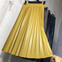 2018 new women pu leather pleated skirt half-length retro high-waisted slim organ leather skirt pleated long skirt female