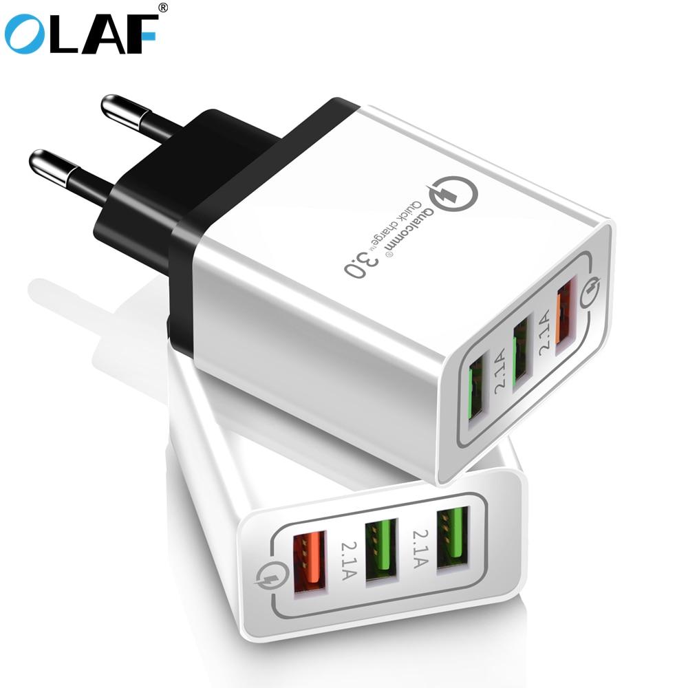 Olaf Chargeur USB charge rapide 3,0 pour iPhone X 8 Chargeur rapide iPad iPad pour Samsung S7 Xiaomi Mi 9 téléphone mobile chargeur