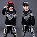 Roupas Das Meninas dos meninos do Hip Hop Menino impressão étnica terno Meninas set moda jazz roupas desempenho das Crianças