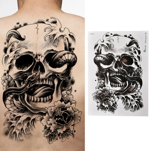 Waterproof black scary skull temporary tattoo large arm body tattoos sticker high quality