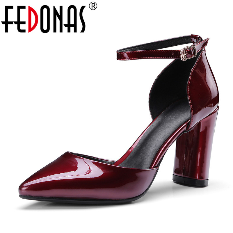 FEDONAS Fashion Sexy Women Patent Leather Mary Jane Wedding Party Shoes Woman High Heeled New Pointed Toe Pumps Night Club Shoes цена