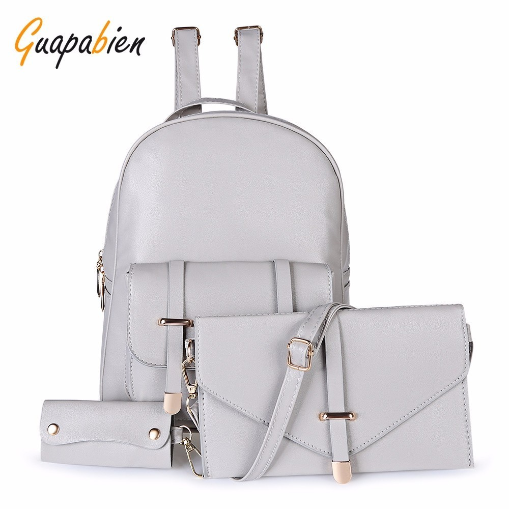Hot Sale Composite Bag Pu Leather Backpack Women Cute 3 Sets Bag School Backpacks For Teenage Girls Black Bags Letter Sac A Dos 3 pairs lot fk12 ff12 ball screw shaft guide end supports fixed side fk12 and floated side ff12