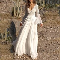 2019 Women Bohemian White Long Dress Deep V High Waist Draped Tassel Hollow Out Patchwork Lace Up Travel Beach Maxi Dress