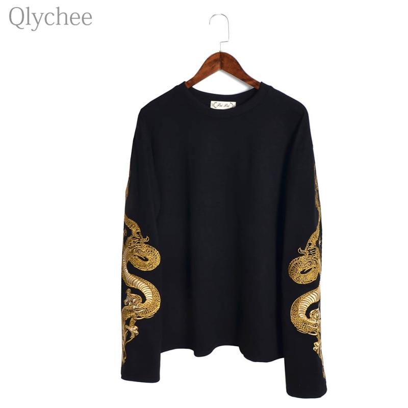 Qlychee hétköznapi sárkány hímzés női pulóver fekete pelyhes ujjú pulóver hosszú ujjú laza hölgy tracksuit