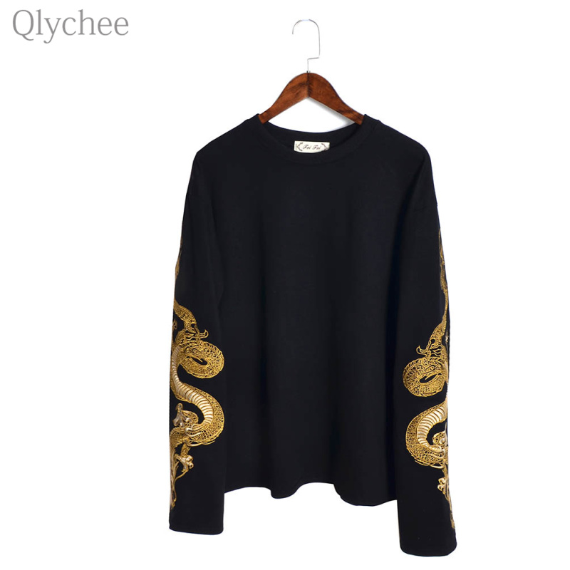 Qlychee Casual Dragon Embroidery Female Sweatshirt Black Flare Sleeve Pullover Long Sleeve Loose Lady Tracksuit