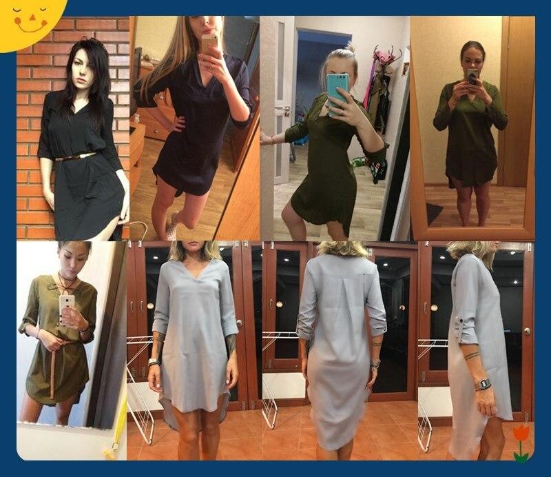 25adb3b85e4f4 Casual Loose Plus Size Elegant Dress Long Sleeve Irregular Chiffon ...
