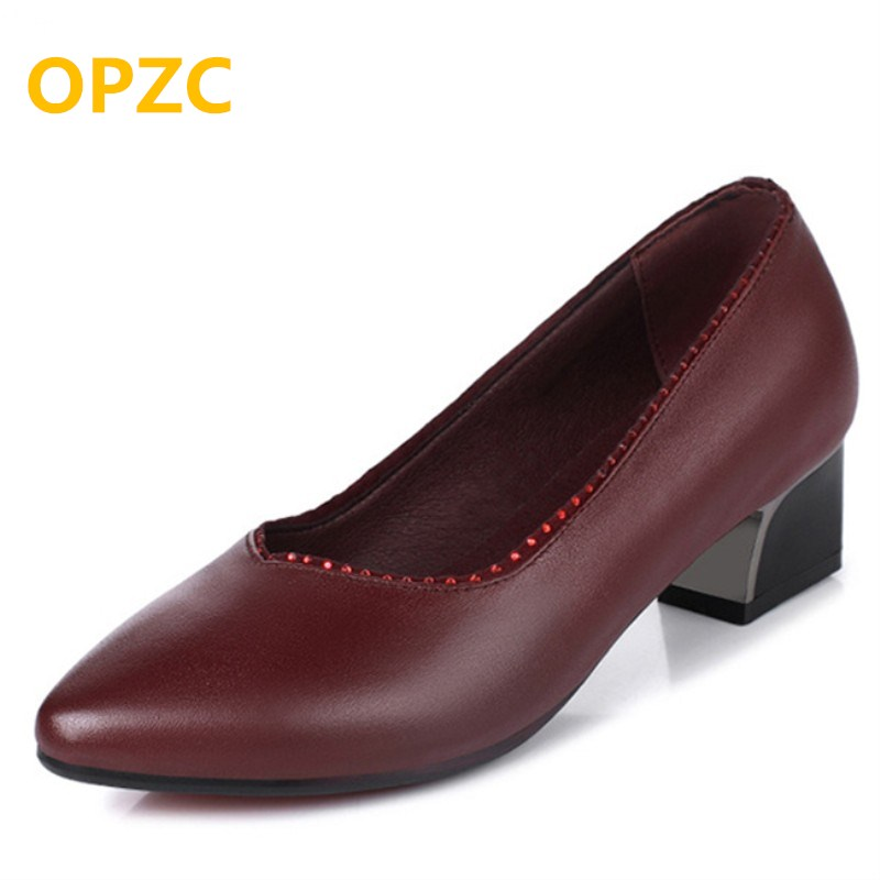 OPZC 2018 spring and summer new genuine leather women's shoes with fashion diamond tip work shoes women in the shallow mouth in the summer of 2016 the new wedge heels with fish in square mouth denim fashion sexy female cool shoes nightclubs
