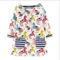2t 7t 6pcs 1lot Princess Girl Dress Animal Horse Print Fashion Children S Dress Striped