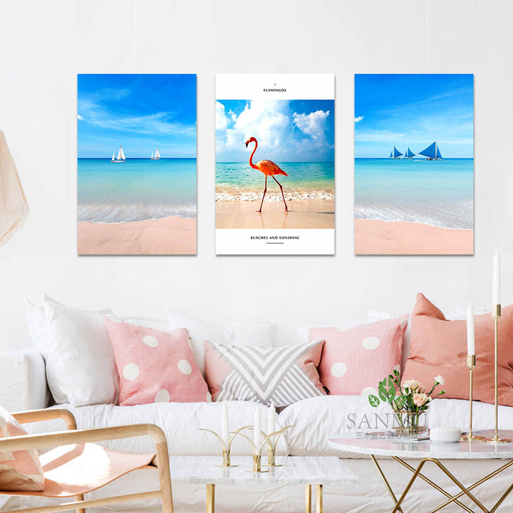 Unframed Canvas Print Flamingos On The Beach Blue Sky White Clouds Print Wall Picture For Living Room Wall Art Decoration