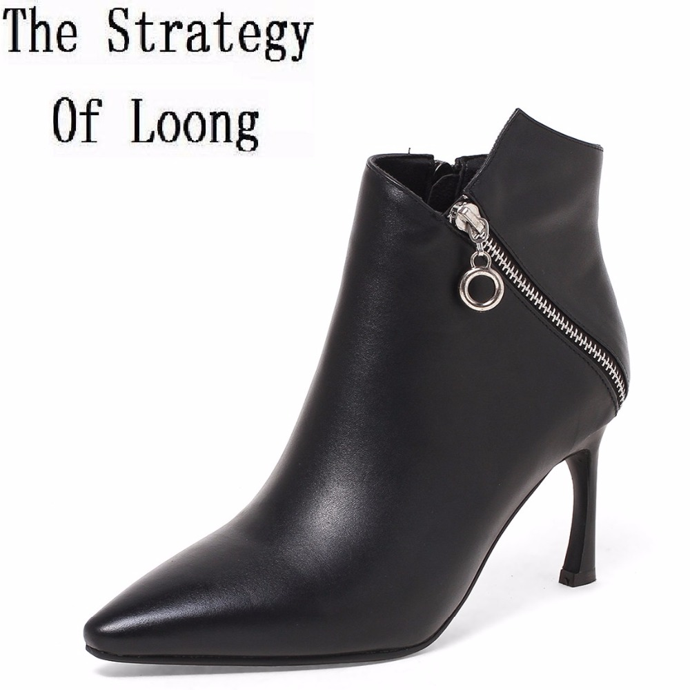 2017 New Arrival Winter Zip Cow Leather Short Plush Ankle Boots Women Thin Heel Basic Pointed Toe High Top Boots ZY170908 2017 new arrival winter plush genuine leather basic women boots knight zipper round toe low heel knee high boots zy170904