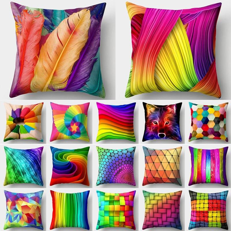 >Rainbow Pillow Case Cushion Cover Cushion <font><b>Colorful</b></font> Geometric <font><b>Feather</b></font> Polyester Decor for Home Car <font><b>Sofa</b></font> Pillow Cover 40544