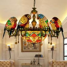 Роскошный подвесной ретро светильник в американском пасторальном стиле Тиффани в виде попугаев, птиц, витражный светильник для бара, гостиной, кабинета, подвесной светильник