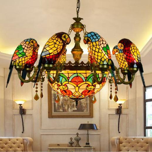 American Pastoral estilo Retro luxo papagaio pássaro luz pingente de vidro manchado de Tiffany bar salão de sala de estar pendurado iluminação