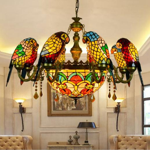 Americano pastoral tiffany estilo retro luxo papagaio pássaro luz pingente de vidro manchado barra sala estar estar salão pendurado iluminação