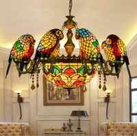 Style américain pastorale Tiffany rétro luxe perroquet oiseau pendentif lumière vitrail Bar salon suspendu éclairage