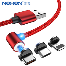 NOHON Elbow Magnetic Fast Charge Cable Lighting Micro USB Type C For iPhone X 7 8 Samsung Universal Phone Magnet Charging Cables nohon magnetic l shape lighting fast charging cable micro usb type c for samsung xiaomi iphone universal magnet charge cord line
