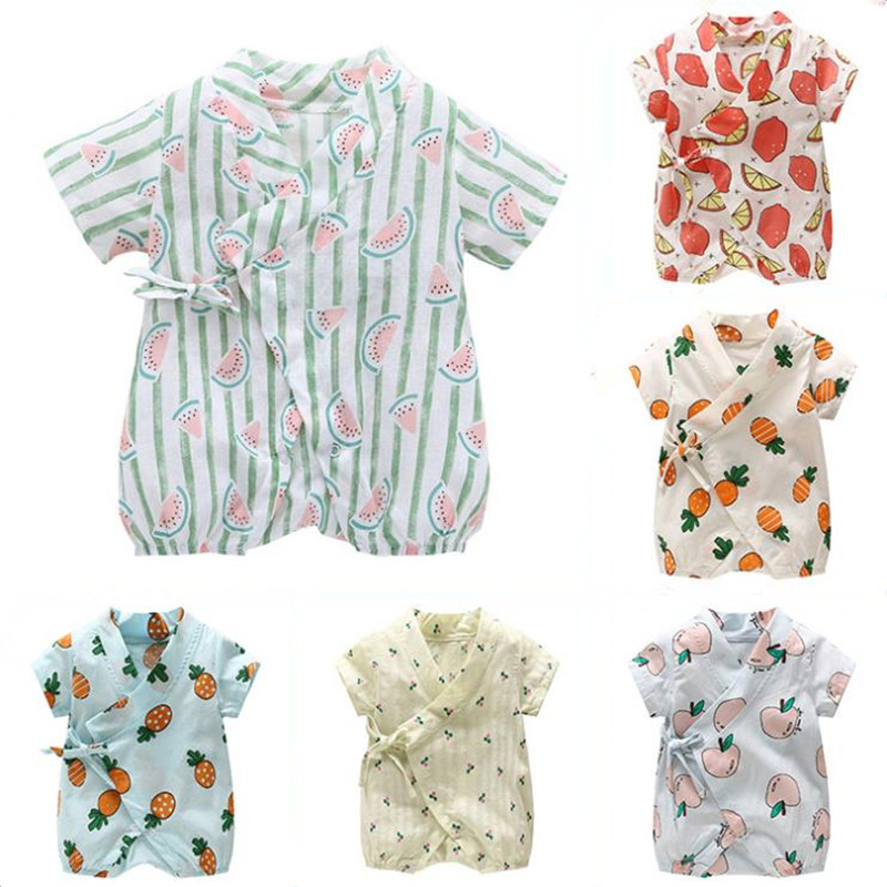 834a26ca673e6 US $9.63 45% OFF|New Born Baby Rompers Fruit Floral Print Chiffon Infant  Baby Girls Jumpsuit Clothing roupa de bebe bebes ropa recien nacidos-in ...