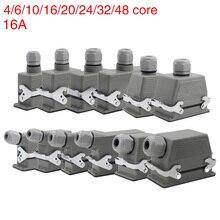 Conector resistente retangular industrial hdc he 4/6/10/16/20/24/32/48 núcleo 16a impermeável aviação plug superior e lateral