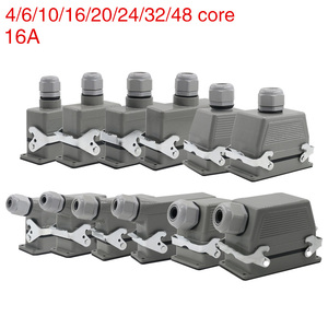 Image 1 - Industrial rectangular heavy duty connector hdc he 4/6/10/16/20/24/32/48 core 16A waterproof aviation plug top and side