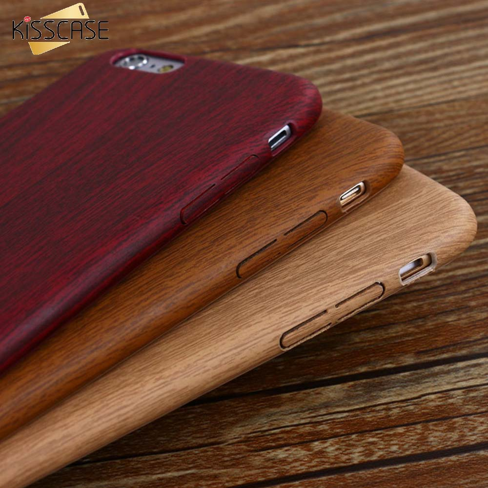 KISSCASE Vintage Wood Texture Pattern Leather Cases For iPhone 7 6 6S Plus 5 5S SE Case Soft Wood Cover For iPhone 7 X Xs Max XR plywood