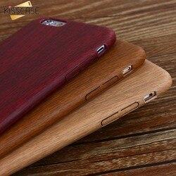 KISSCASE Vintage bois Texture motif cuir étuis pour iPhone 7 6 6 S Plus 5 5 S SE étui en bois souple couverture pour iPhone 7 8 Xs Max XR