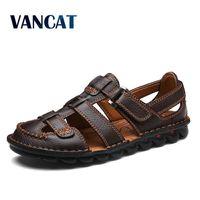 VANCAT/удобные мужские сандалии ручной работы из натуральной кожи; мягкая Летняя мужская обувь; Повседневная пляжная обувь в стиле ретро; боль...