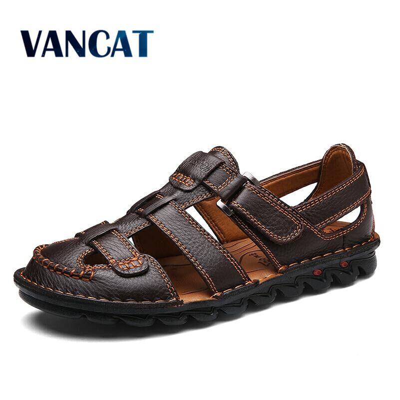 VANCAT Comfortable Handmade Men Sandals Genuine Leather Soft Summer Mens Shoes Retro Sewing Casual Beach Shoes Big Size 38-46