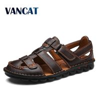 VANCAT Comfortable Handmade Men Sandals Genuine Leather Soft Summer Men's Shoes Retro Sewing Casual Beach Shoes Big Size 38 46