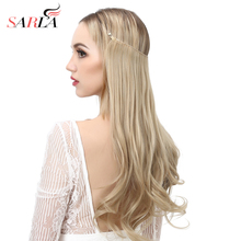 """SARLA 200 ชิ้น/ล็อต 14 """"16"""" 18 """"Wire Halo Hair Extensionสำหรับผู้หญิงปลอมราคาถูกธรรมชาติสังเคราะห์ชิ้นผมขายส่ง"""
