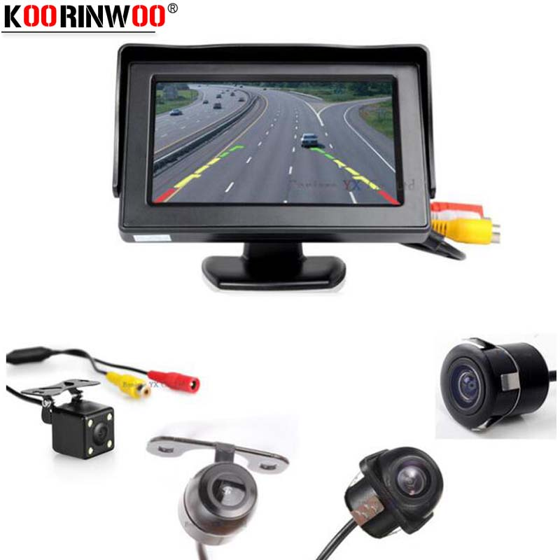 Koorinwoo Vehicle Hight Resolution Voiture TFT LCD Parking Monitor 800 * 480 vision nocturne IP68 Auto caméra de recul caméra Parking Assist
