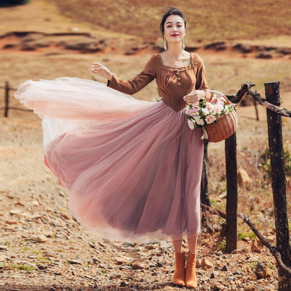 2017 Automne Hiver Femmes robe Vintage Rétro À Manches Longues Patchwork Midi Robes Tunique Robes