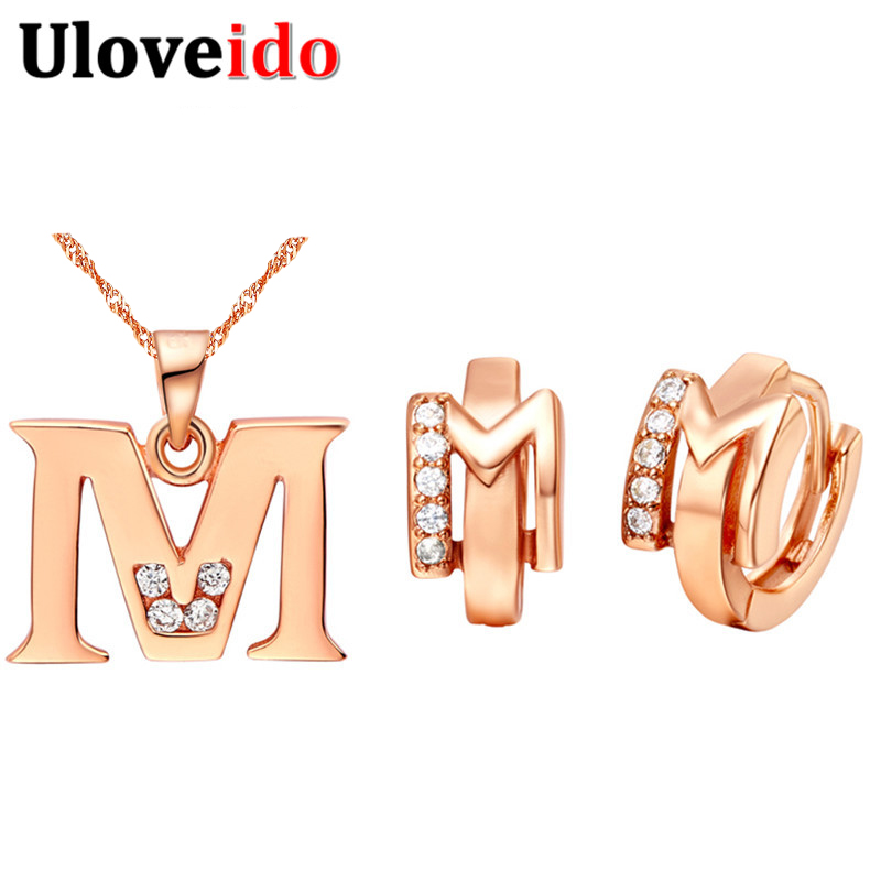 Letter A B C D E F G H I J K L M N O P Q R S T U V W X Y Z Necklace Pendant Letter Earrings Rose Gold Color Jewelry Sets Ulove