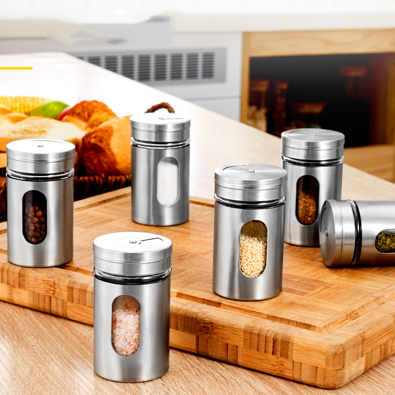 Unibird 3/6/9/12pcs Stainless Steel Seasoning Condiment Jar Glass Spice Pepper Salt Shakers Barbecue Cocoa Sugar Sprays BottleUnibird 3/6/9/12pcs Stainless Steel Seasoning Condiment Jar Glass Spice Pepper Salt Shakers Barbecue Cocoa Sugar Sprays Bottle