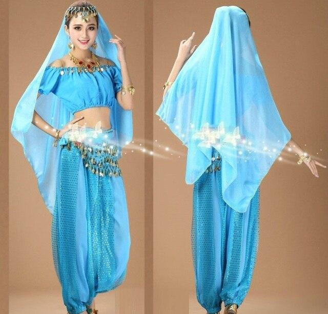 Damskie dziewczyny Halloween na imprezę Cosplay taniec brzucha Aladdin księżniczka Jasmine kostium dla dorosłych moda kostiumy dla kobiet 6 kolorów