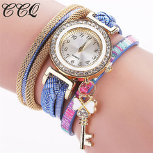 2017 Style Gold Crystal Key Girls Watches Informal Braided Leather-based Bracelet Wrist Watch Ddrop Delivery Quartz Watch Present 2027