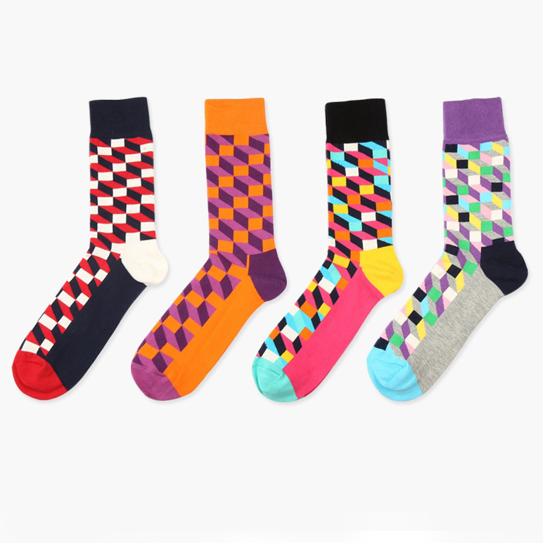 Hot ! New  Socks Style 3D Colorful Square Cotton Socks For Men Women Gentleman Men's Sock Big Size EUR 37-46 HP08