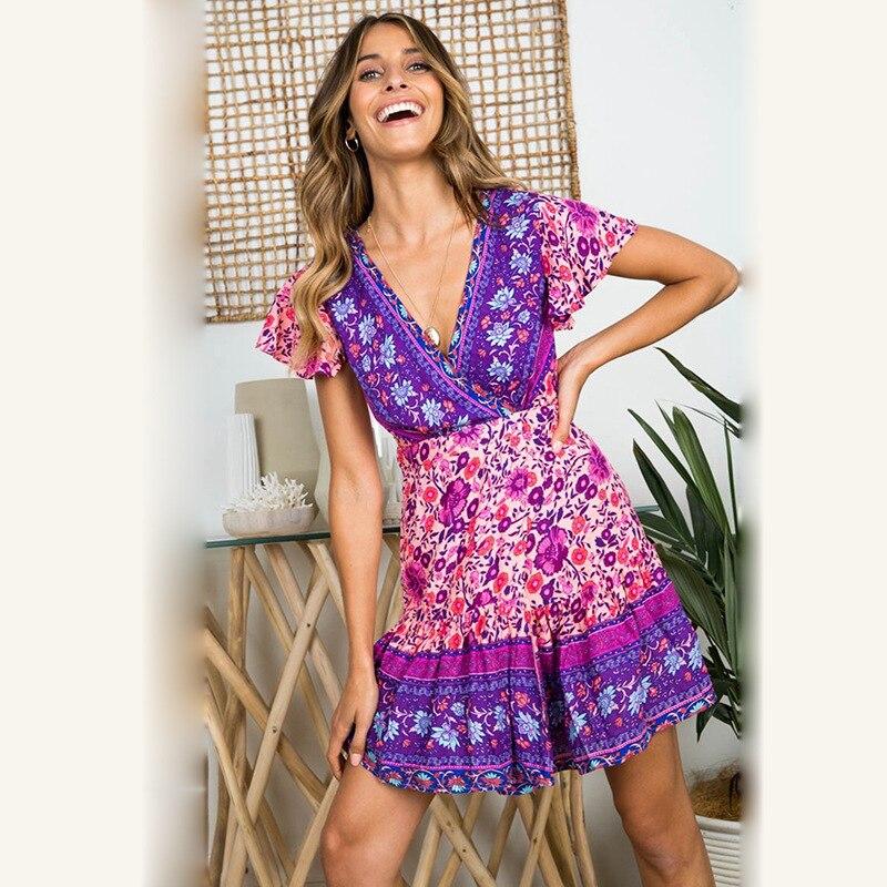 Платье женское, с треугольным вырезом, плиссированное, фиолетовое, с цветочным принтом, W1081|Платья|   | АлиЭкспресс