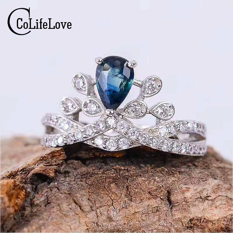 CoLife Jewelry silver crown ring 4 mm 6 mm 0 4 ct natural dark blue sapphire