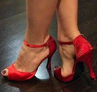 Free Shipping Suphini Red Woman Salsa Latin Dance Shoes