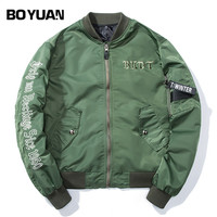BOYUAN Mens Clothing Brand Quality Letters Emboridery Hip Hop Bomber Jacket Coat Men 2018 Spring New