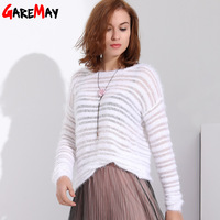 Garemay Mohair Pullover Sweater Woman Knitted Sweaters Long Sleeve Loose O Neck Hedging Female Sweater Pullover