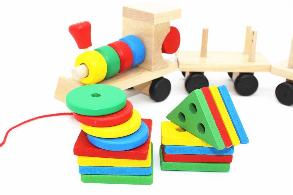 SUKIToy classic wooden models building toys blocks train for children boys Montessori game for kids gift shape matching 8