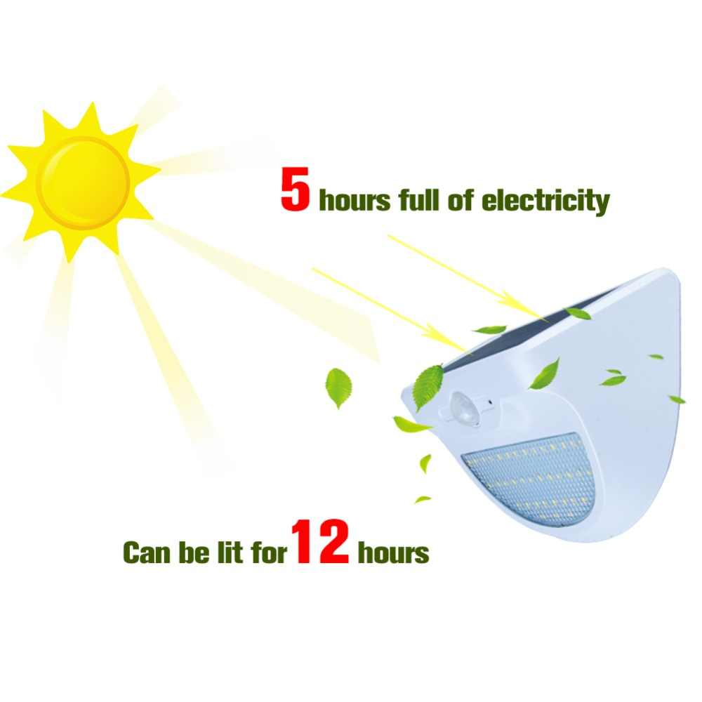 Водонепроницаемый светодиодный солнечный свет солнечное освещение для наружного использования Мощность светодиодный путь светильник для сада и улицы движения PIR Сенсор аварийного настенная лампа-бра с питанием от солнечной панели