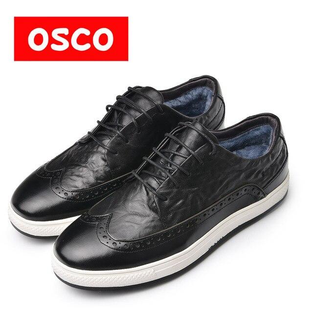 Оско фабрики из натуральной коровьей кожи зимние Для мужчин теплая Повседневная обувь теплые шерсть Casusl стиль Для мужчин зимние туфли-оксфорды # a3534