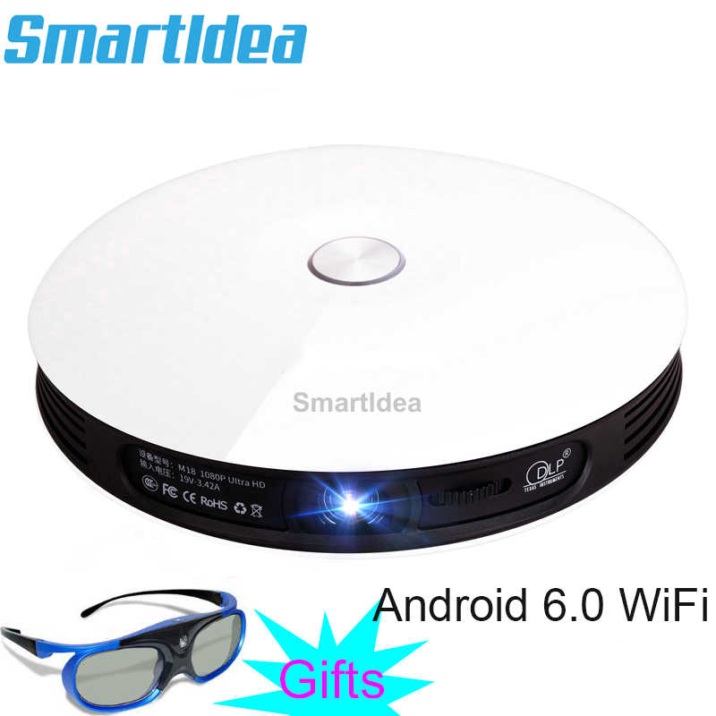 Smartldea M18 projecteur HD 1080p Android 6.0 WiFi Mini cinéma maison intelligente 3D Proyector batterie Beamer Support AirPlay Miracast