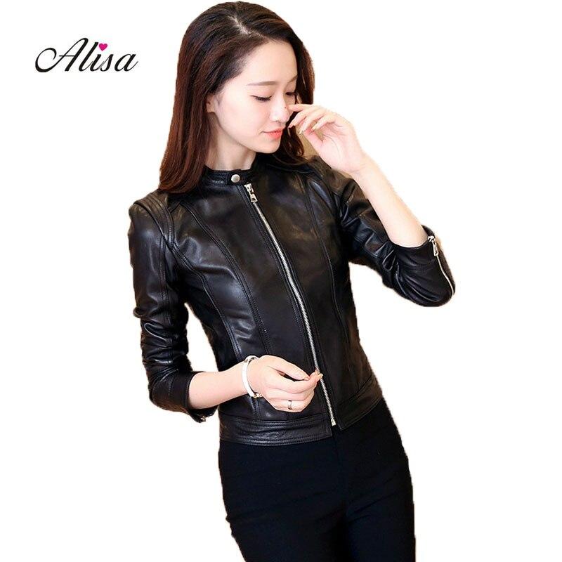Women Faux   Leather   Jacket Jaquetas De Inverno New 2018 Female Slim Long Sleeved Zipper Black Moto Jacket Ladies   Leather   Coat