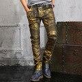 Europea más el tamaño pantalones vaqueros para hombre de oro recubierto de plata biker flaco vaqueros teenages diseño pantalones lápiz pantalones delgados envío libre